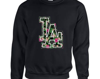 Los Angeles Floral LA Adult Unisex Designed Sweatshirt Printed Crew Neck Sweater for Women and Men