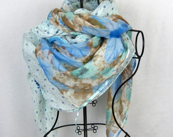 Large square scarf collection 180, large shawl, blue, blue, flower, green scarf green scarf