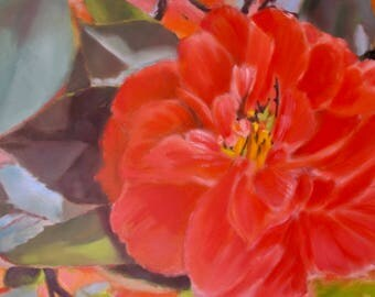 Large format Nercy Christine, painter of nature, Camellia, large flower, oil painting