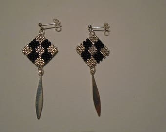 Silver miyuki beads earrings
