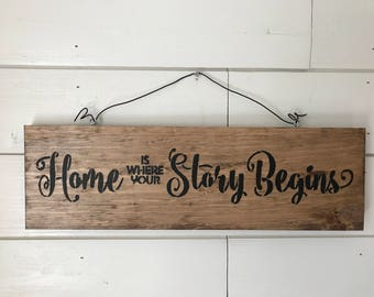 "Hand-Crafted ""Home is were your Story Begins"" Sign"