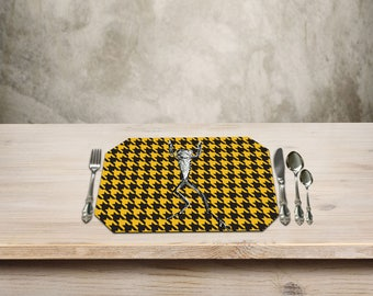 Frog Placemat,Rustic Table Place Mat,Frog Kitchen Decor, Funny Decor,  Houndstooth