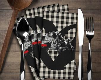 Wild Boar, Pig Napkin Set (4 pieces), Pig Decor, Pig Linen Set,Napkins Cloth Set,Napkins,Have  fun in your kitchen or at tea time!