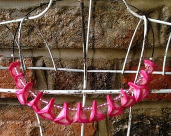 "Necklace ""Petals"" with pink beads"