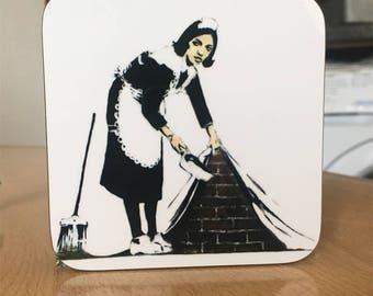 Banksy Coaster #18 - Banksy Gift - Banksy Coaster - Custom Coaster -Gift for Her - Gift For Him - Fridge Magnets - Banksy Magnet - Souvenir