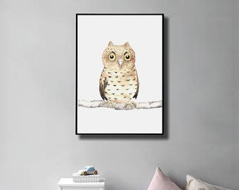 Printable Watercolor Woodland Owl Print, Owl Nursery, Owl Wall Decal,Instant Download, Owl Lover Gift, Forest Friends, Nursery Decor