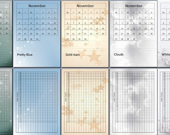 November 2017 Complete Month Pack. 5 Backgrounds to choose from!  With Monthly Habit Tracker and Gratitude Log (13 Pages)