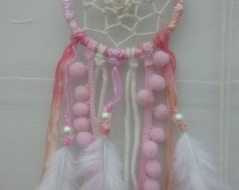 Hand Crafted Pink and White Dream Catcher