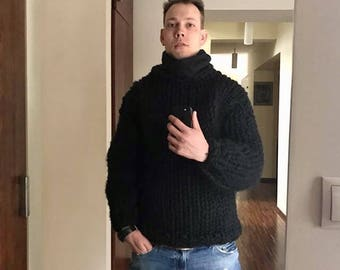 Chunky merino knit Men's pullover Black Men's wool sweater Chunky sweater Gift for him Merino wool Sweater for men Super knitted Men sweater
