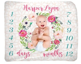 Baby Girl Milestone Blanket, Month Growth Chart, Nursery Decor, Custom Personalized Baby Shower Gift, Watercolor Floral Newborn