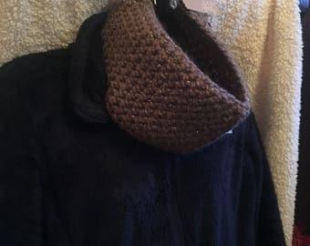 Brown & Silver Sparkle Crochet Cowl/Neckwarmer