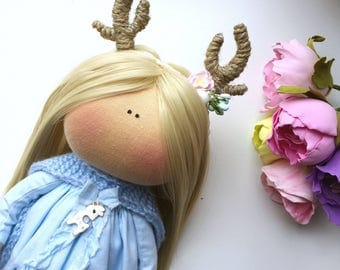 Deer doll Limited doll Mori Girl Handmade doll Textile doll Fabric doll Tilda doll Interior doll Rag Doll Christmas Gift Gift for her