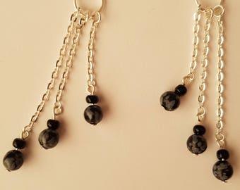 Triple Snowflake Obsidian Earrings