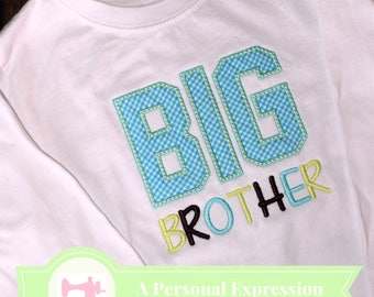 Big Brother Shirt / Applique Shirt / Sibling Shirt Boy / Boy Top / Family / Kid Applique / Embroidery / Gingham / Gift Children /Baby Reveal