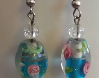 Turquoise Glass Bead With Pink Rose Earrings, Flower Glass Bead Earrings, Gifts for her, Gifts for girls, Gifts