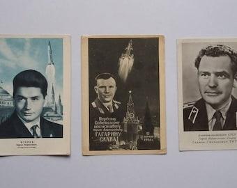 Gagarin Soviet Cosmonaut Yuri Gagarin Soviet Space Postcard USSR Space postcard First astronaut 1961 april 12th