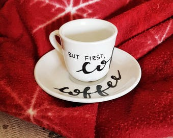Coffee cups with hand painted ceramic saucer for coffee lovers-hand-written coffee cup calligraphy-