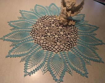 Grey with dark blue border and turquoise/crochet cover/Doilies