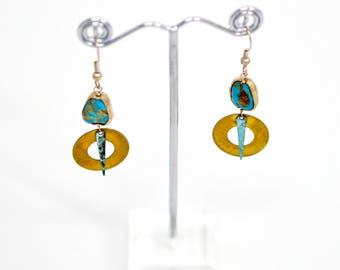 Kingman Turquoise Bronze Earrings
