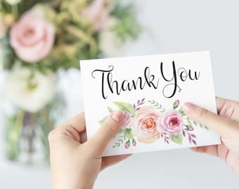 Thank You Card Template, Printable Wedding Card, Bohemian Watercolor Floral Thank You, Instant Download, W03