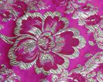 Clearance Sale Discount Golden Metallic flower on hot pink sian Chinese Brocade Fabric 29 inch W, By The Yard or Metres or Samples GP-621