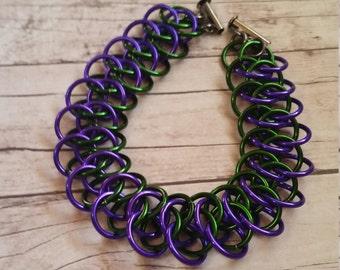 Hulk/Joker inspired Arkham chainmaille bracelet