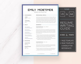 Professional Resume Template | Resume Template for Word | CV Template + Cover Letter & References | Modern Resume | Instant Download | EMILY