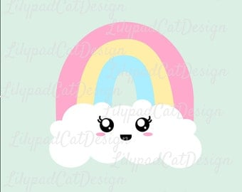 Rainbow SVG, cute rainbow svg, birthday shirt, smiling rainbow, rainbow cut file, PNG, DXF, cloud and rainbow svg.