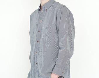 VINTAGE White Black Striped Long Sleeve Button Downs Retro Shirt