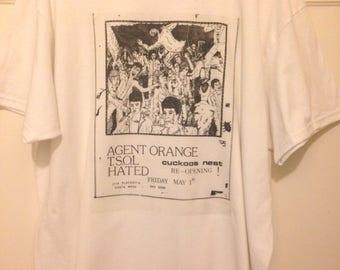 T-shirt Old Punk Rock Concert Flyer Agent Orange TSOL Cuckoos Nest Men's White