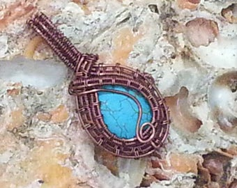 Small Wire Wrapped Pendant - Blue or Green