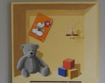tableau peinture décorative trompe l'oeil chambre d'enfant