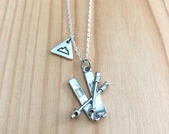 Ski poles and skis necklace sterling silver chain