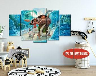 Moana canvas, Moana Movie, Art Home Decoration, Nursery print, Kids room decor, Moana print, Nursery canvas, Disney canvas, Moana poster
