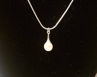 Sterling Silver Drop Pendant Necklace