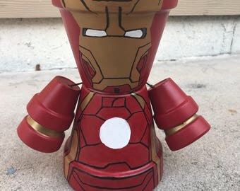 Iron Man Inspired Clay Pot Person