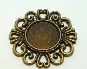 Ornate Bronze Colour Round Cabochon Settings / Blanks / Bases / Bezels / Pendant Trays - 16mm - Pack of 2