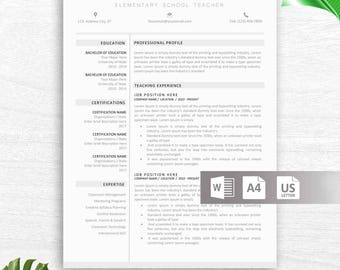 Teacher Resume Template For Word, 2 Page Educator Resume Teacher CV,  Elementary Resume,  Resume Of A Teacher