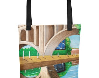 Manayunk Bridge - Amazingly beautiful full color tote bag with black handle featuring children's donated artwork.