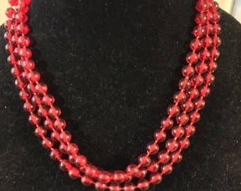 Vintage Opera Length Red Acrylic Necklace
