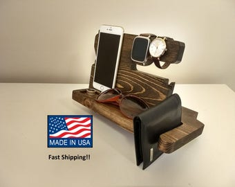 Wooden Docking Station, Unique holiday gift, Christmas, New Year, Birthday, Gift for Men, husband/wife, Anniversary Gift, Fathers Day Gift