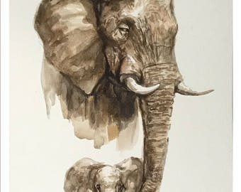 Elephant - original watercolor painting