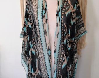 Boho Sun Worshiper - Aztec Ikat Print Fringed Kimono Wrap, Boho Turquoise Kimono Wrap, Plus size, One Size Kimonos, Boho Kimono Wraps