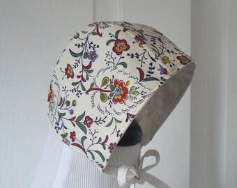 0/3 Month Hat, Newborn Baby Hat, Reversible Hat, Modern Baby Bonnet, Floral Bonnet