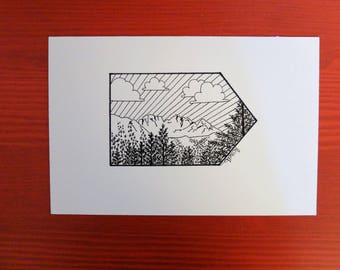 Presolana Mountains Original Ink pen postcard Orobie/Postcard Landscape Mountains