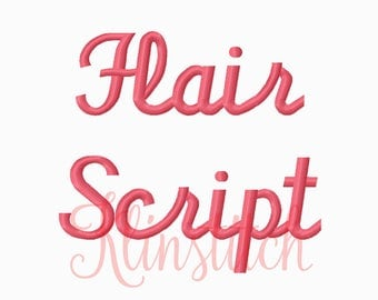 50% Sale!! Flair Script Embroidery Fonts 3 Sizes Fonts BX Fonts Embroidery Designs PES Fonts Alphabets - Instant Download