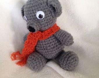 Teddy Bear, Crochet, Handmade,Gray,Orange
