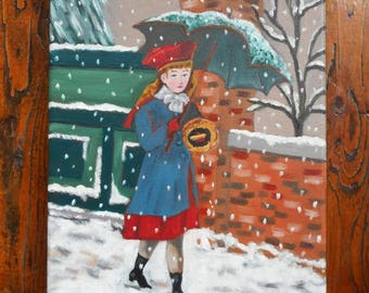 Original acrylic painting of the girl under the snow-small format Original acrylic painting of a girl under the snow-Small size