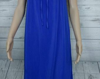 Vintage Slip dress. Royal Blue. Tricel pleats. Square Neck. Size 12. 60's 70's. Mod.