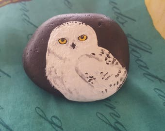 Snowy Owl Hand-painted Stone